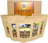 Kaffee Globetrotter - Bio-Box Ganze Bohne - für Kaffee-Vollautomat, Kaffeemühle, Handmühle, - 5 Mal 65g Raritäten Spitzenkaffee - Fünf Kaffeesorten Aus Biologischem Anbau
