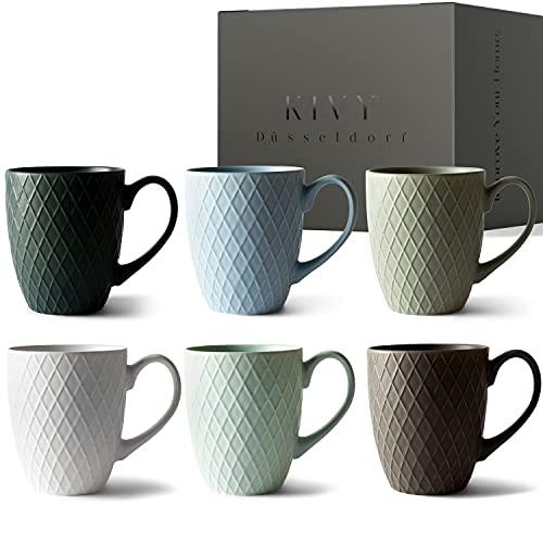 KIVY® Kaffeetassen 6er Set [400 ml] -...